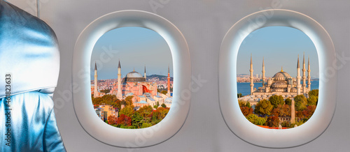 Fotografie, Obraz Istanbul city as seen through window of an aircraft -The Blue mosqque (Sultanahm