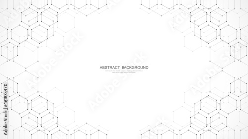 Fotografiet Abstract background with geometric shapes and hexagon pattern
