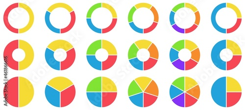 Colorful pie and donut charts. Circle chart, circle sections and round donuts chart pieces. Business infographic vector set