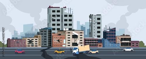 Obraz na plátně City earthquake