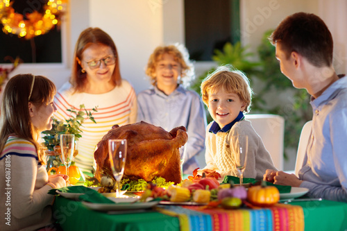 Canvas Print Thanksgiving family dinner. Roasted turkey meal.