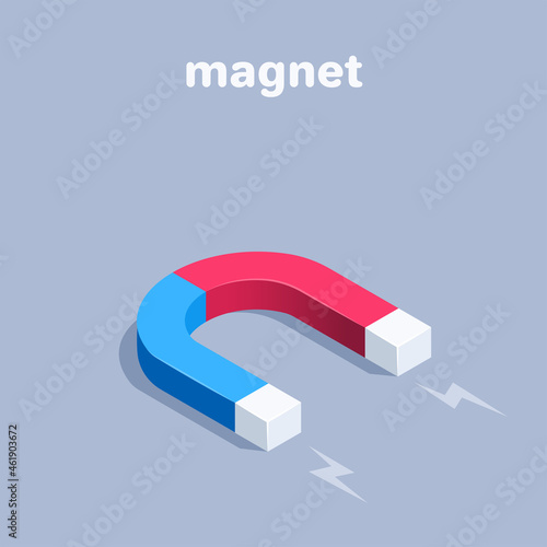 Canvas Print isometric vector illustration on gray background, magnet of blue and red color,