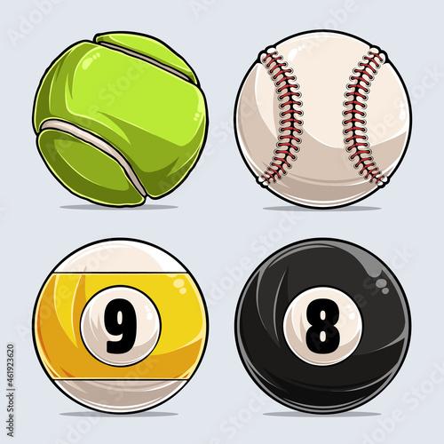 Fotografering set of different sport ball, baseball, pool ball