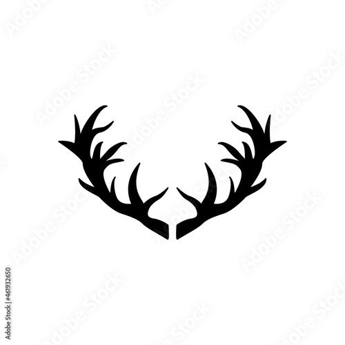 Fotografiet Black deer antlers on a white background. Vector icon.