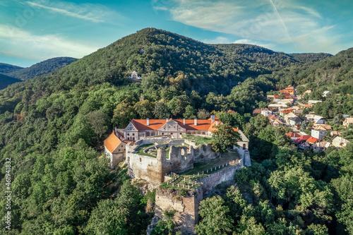 Fototapeta Aerial panoramic view of Gothic hilltop ruined castle Kekko, Modry Kamen or Blue