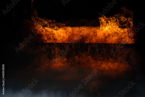 Burning red hot sparks rise from large fire,Perfect fire particles embers on bac Fototapet