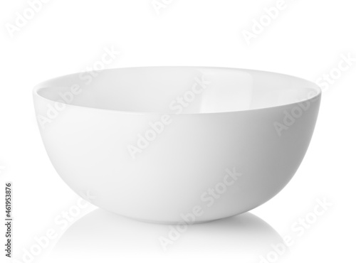 Billede på lærred clean empty white ceramic bowl isolated with clipping path