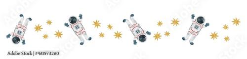 Photographie 星と宇宙飛行士 水彩風イラスト