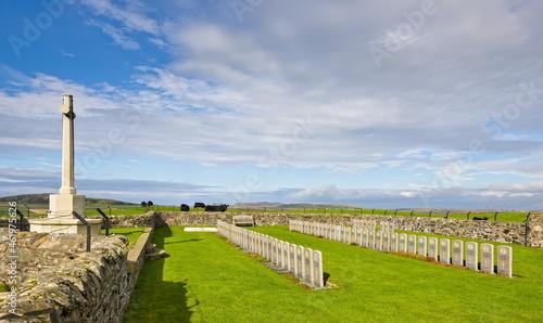 Fotografie, Obraz Cross of sacrifice and memorials at Kilchoman, Islay