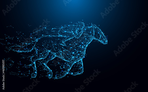 Canvas Print Abstract Jockey on horse form lines and triangles, point connecting network on blue background