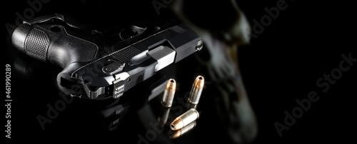 Fotografija 3D illustration of a ghost gun with bullets