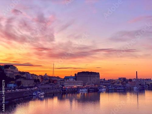 Valokuvatapetti Beautiful sunset over Dnieper river at autumn night