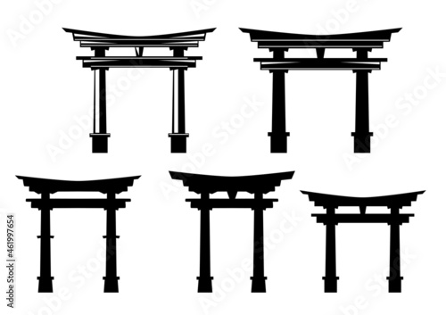 Photo traditional japanese torii gate entrance to shinto shrine - black and white vect