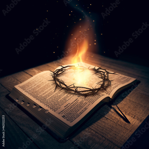 Obraz na plátně Crown of Thorns on top of the Bible with a flame