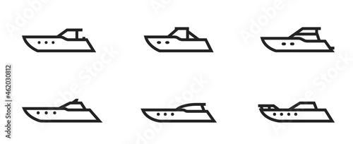 Canvastavla powerboat line icon set