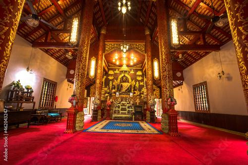 Leinwand Poster Church of The Emerald Buddha at Chiang Rai Province, Thailand.