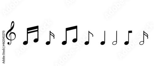Foto Music notes symbol vector icons set