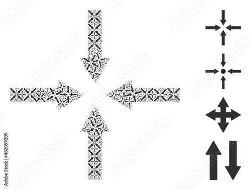 Vector shrink arrows fractal is created of random recursive shrink arrows icons Fototapet