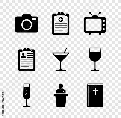 Fototapeta Set Photo camera, Clinical record, Television tv, Glass of champagne, Speaker and Holy bible book icon