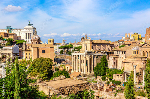 Fototapeta Panoramic cityscape view of the Roman Forum and Roman Altar of the Fatherland in Rome, Italy