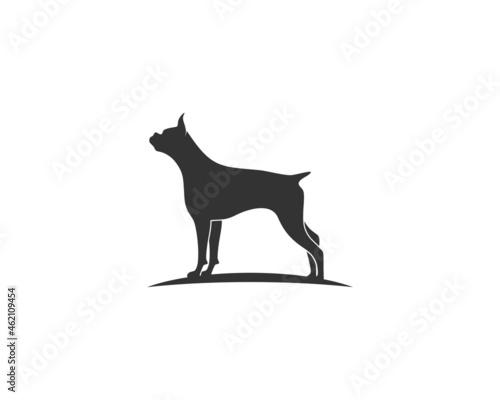 Standing dog silhouette vector illustration logo Fototapet