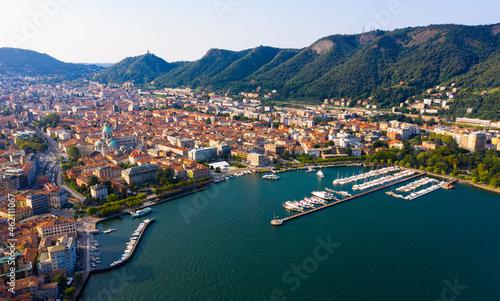 Valokuva Aerial view of city center Como with embankment of lake Como