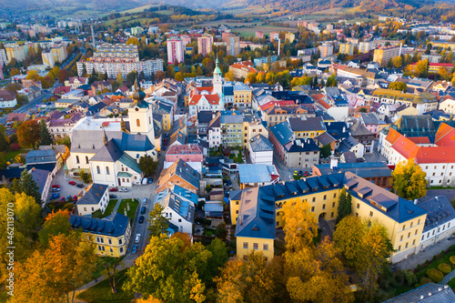 Foto Panoramic view of historical center of Sumperk, Czech Republic