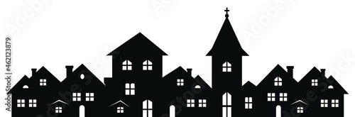 Canvas-taulu Township with church, black silhouette on white background, vector illustration