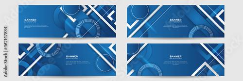 Fototapeta Set of modern abstract gradient dark navy blue banner background