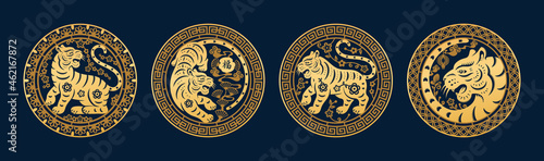 Obraz na plátně Chinese New Year 2022 symbols, golden tigers with floral arrangements, Character Fu text translation