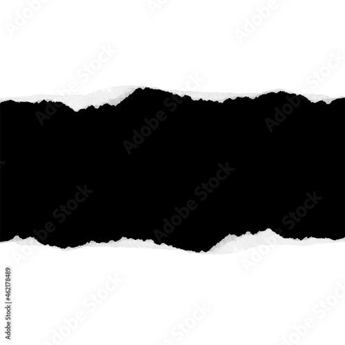 Des morceaux de papier horizontal noir déchiré avec une ombre douce collés sur u Fototapeta