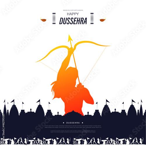 Fotografie, Obraz Hindu festival holiday Vijayadashami, illustration of Lord Rama Bow and arrow fo