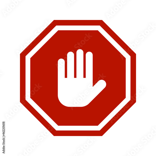 Fototapeta Red stop roadsign with hand symbol icon