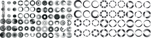 Fotografiet Mega set of lines in Circle Form