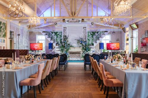 Fototapeta Banquet hall for weddings, banquet hall decoration