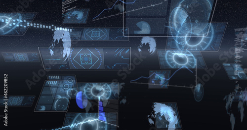 Image of data processing and scopes scanning on screen over glowing horizon