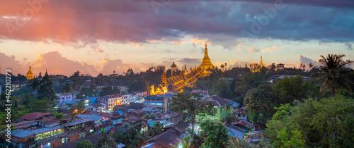 Canvas Shwedagon Pagoda in Yangon city, Myanmar