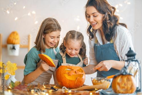 family preparing for Halloween