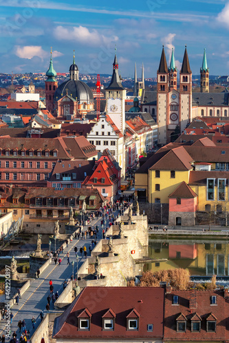 Aerial sunny view of Old Town with cathedral and city hall in Wurzburg, Franconi Fotobehang
