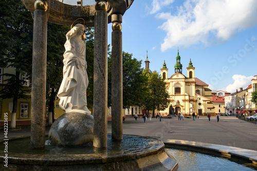 Obraz na plátně Morning view to Roman Catholic Church of Virgin Mary in historic center of Ivano-Frankivsk, Ukraine