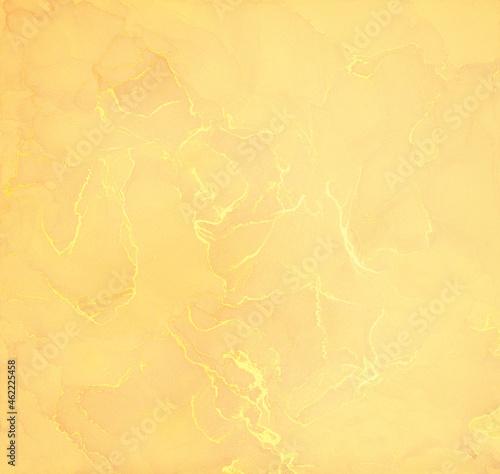 Fotografie, Obraz Blue and gold alcohol ink splash, liquid flow texture paint, luxury abstract digital paper fine art pattern, wallpaper