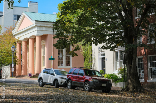 Beautiful picturesque New England style house facades in historic Old Town Alexa Fototapet