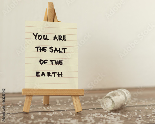 Salt of the earth handwritten quote Holy Bible book Fototapet