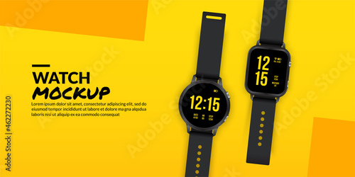 Canvas-taulu Black smart watches isolated on yellow background, Smart wear technology concept