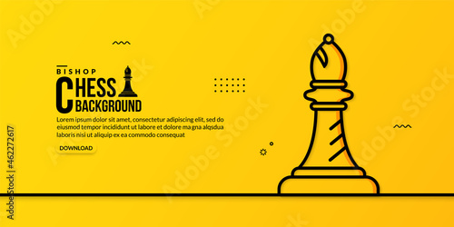 Chess bishop linear illustration on yellow background, concept of business strat Fototapet