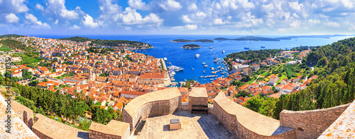 Canvastavla Coastal summer landscape, panorama from the fortress - top view of the town of H
