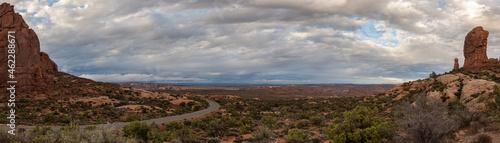 Fotografie, Obraz Panoramic landscape of the beautiful Garden of Eden desert terrain in Arches Nat