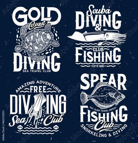 Fotografie, Obraz Spear fishing and ocean scuba diving club t-shirt print