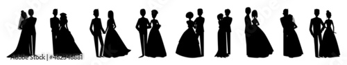 Fotografering Bride and groom in wedding silhouettes illustration collection background