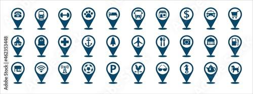 Fotografie, Tablou Travel and destination pin icon set